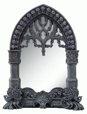 Gothischer Spiegel mit Schädelrahmen