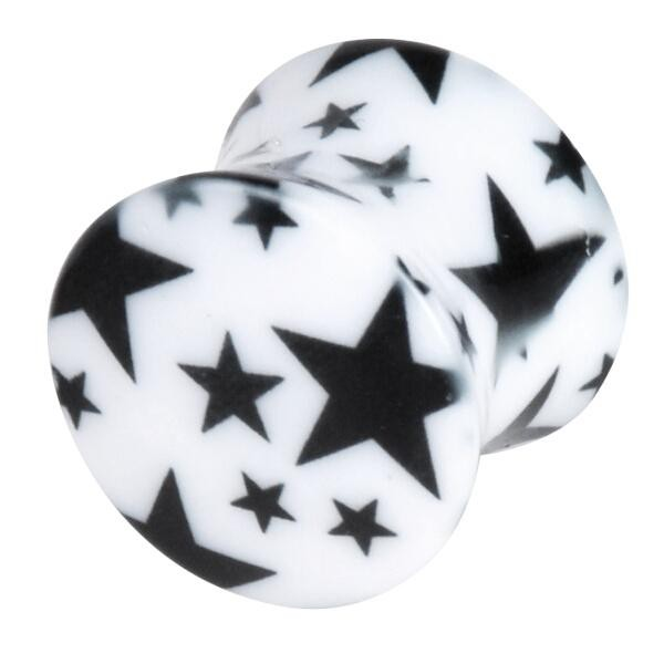 Acrylic Plug Black Stars on White