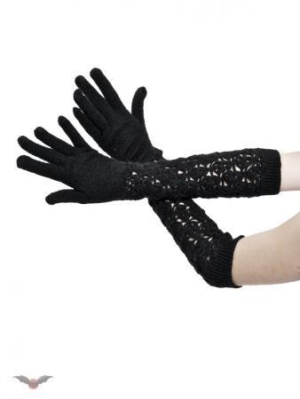 Lange schwarze Strickhandschuhe