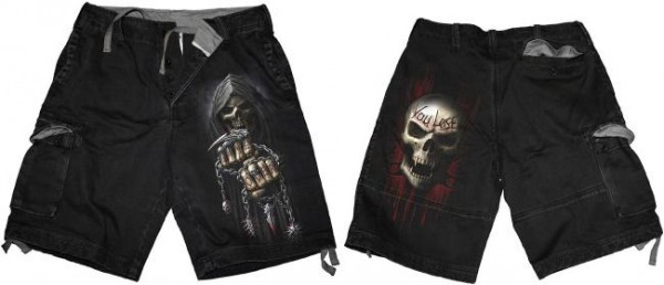 Game Over Shorts im Antik-Look