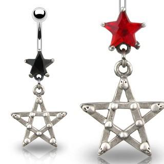 Gothic Star Navel Piercing Schwarz
