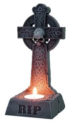 *RIP - Teelichthalter Kreuz mit Schädel