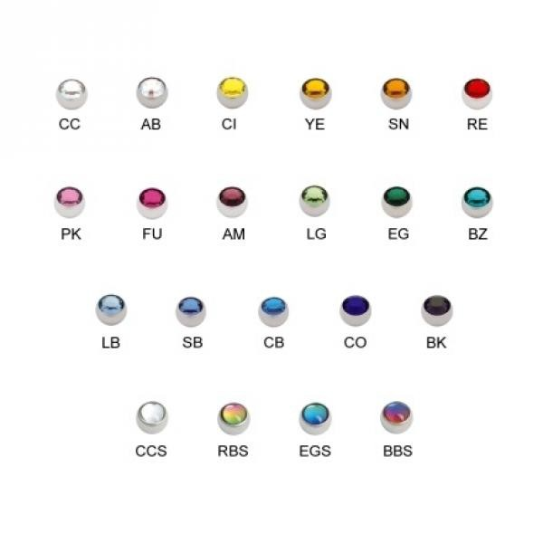 Titan Highline® Jewelled Threaded Ball 1,6mm, 6mm Kugel