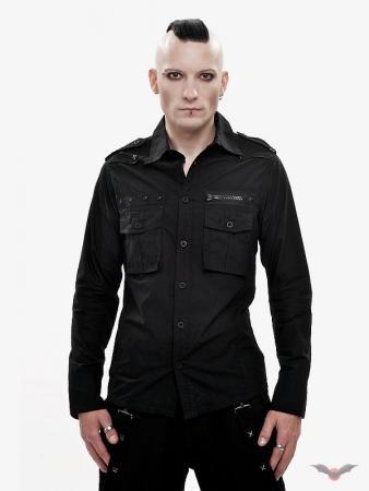 Schwarzes Hemd mit Brusttaschen