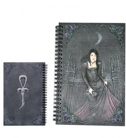 Notizbuch Vampirlady mit Kelch und Vampirkreuz