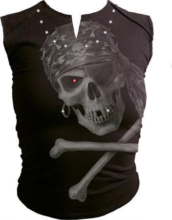 Fashion Pirate Strass & Druck Sleeveless Naht außen schwarz