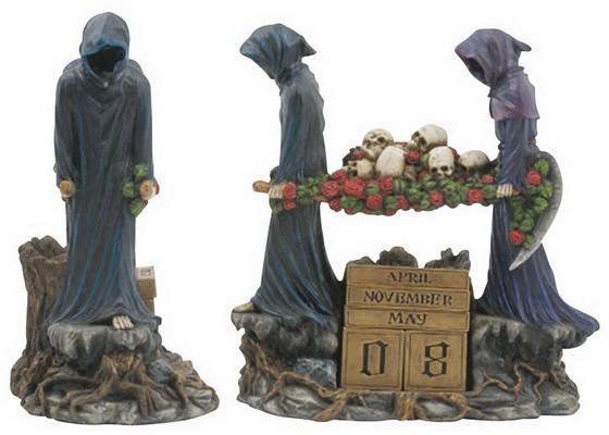 Kalender; Seelenräuber tragen Schädel auf Rosenbahre