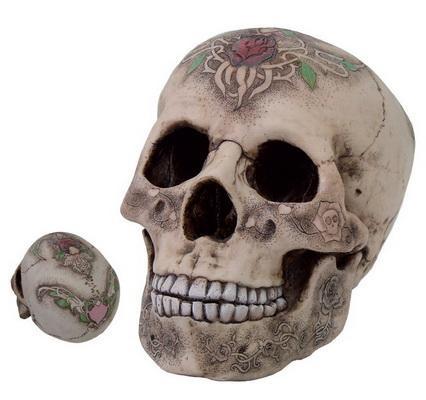 Totenschädel mit Rosentatoo