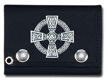 Tri Fold Biker Portemonnaie Keltisches Kreuz