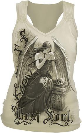 Lost Soul Girlie Shirt mit gerafften Trägern, ecru