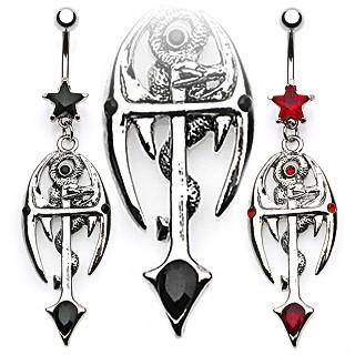 Gothic Cross + Snake Navel Piercing Schwarz