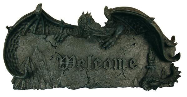 """Türschild """"Welcome""""; mit Drachen"""
