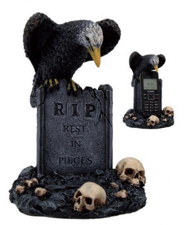 Grabstein mit Raben, RIP, Handyhalter
