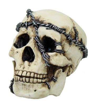 Schädel mit Stacheldraht umwickelt